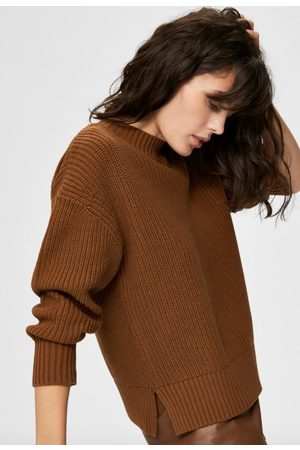 Selected Bailey ls knit slit o-neck jumper toffee