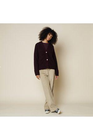FOLK CLOTHING FOLK Loom Cardigan AUBERGINE MELANGE