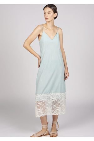 MARAINA LONDON MARION cotton sweetheart neckline midi dress with lace
