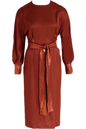 Anna Etter Long Sleeve Midi Dress Ediet with sequined sleeves and cuffs
