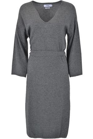 Not Shy 3703025 Grey Sweater Dress with Belt Anthracite