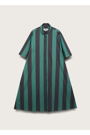 YMC COTTON POPLIN DECK STRIPE DRESS / BLACK