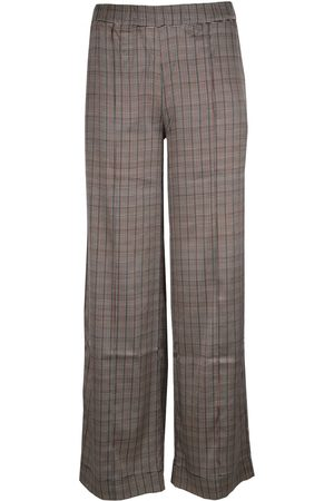 Jeff SIMON Silky Wide Leg Check Trousers