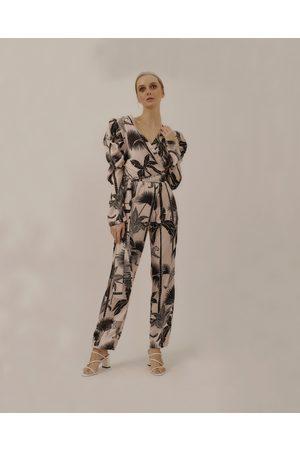 LoboRosa Pale Pink Palm Print Tea Jumpsuit