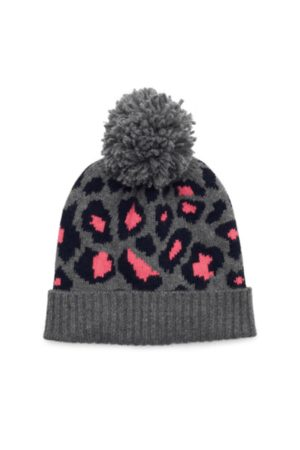 SOMERVILLE . Leopard Cashmere Pom Pom Hat - Pink
