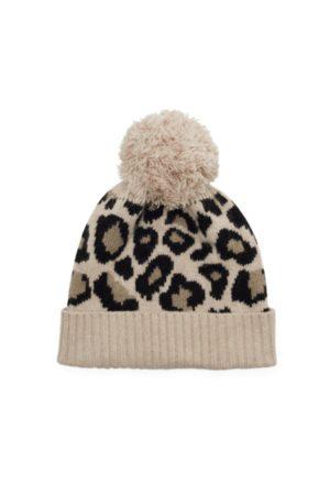 SOMERVILLE . Leopard Cashmere Pom Pom Hat - Natural