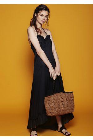 MARAINA LONDON MANON raffia tote bag in brown an black