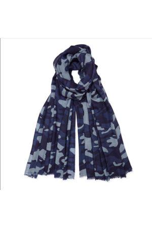 SOMERVILLE . Cashmere Camouflage Print Scarf navy