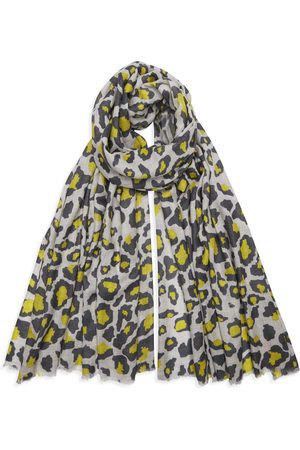 Yunion T Dark Khaki/Yellow and Grey Leopard Cashmere Pashmina