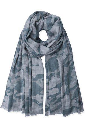 SOMERVILLE . Cashmere Camouflage Print Pashmina Pale Grey