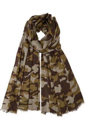 SOMERVILLE . Cashmere Camouflage Print Pashmina Khaki