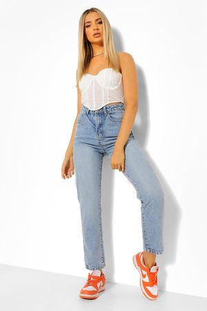 Boohoo Women Straight - Womens Denim Basic Vintage Straight Leg Jean - - 2