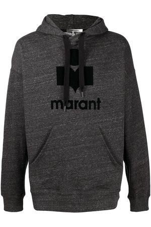 Isabel Marant Logo-print marled drawstring hoodie - Grey