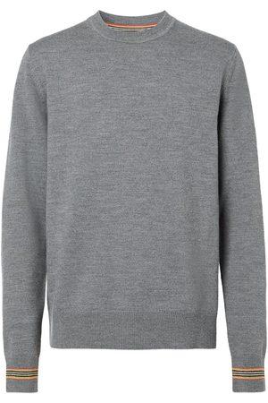 Burberry Icon Stripe trim crew-neck pullover - Mid Grey Melange