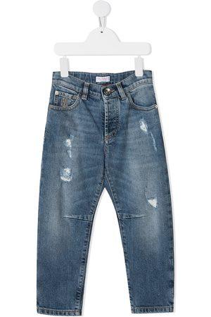 Brunello Cucinelli Kids Straight leg distressed-finish jeans