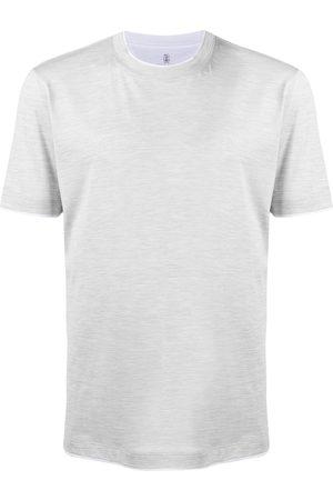 Brunello Cucinelli Contrast-trim T-shirt - Grey