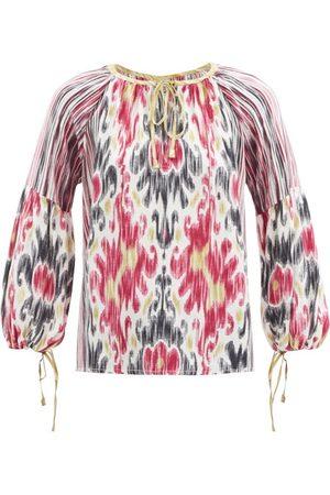 D'ASCOLI Amina Ikat-print Silk-crepe Blouse - Womens - Multi