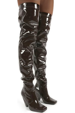 Public Desire US Conquer Patent Thigh High Over The Knee Square Toe Cone Block Heeled Boots - US 5
