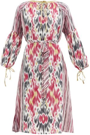 D'ASCOLI Amina Belted Ikat-print Silk-crepe Dress - Womens - Multi