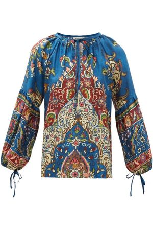 D'ASCOLI Taraz Tie-neck Floral-print Silk Blouse - Womens - Multi