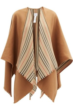 Burberry Women Ponchos & Capes - Icon-stripe Fringed Wool Cape - Womens - Camel