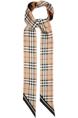 Burberry Tapered-tip Check Silk-twill Scarf - Womens - Multi