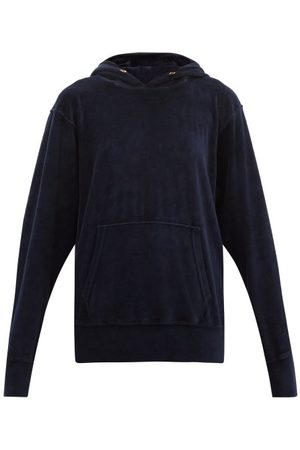 Les Tien Cotton-blend Velour Hooded Sweatshirt - Womens - Navy