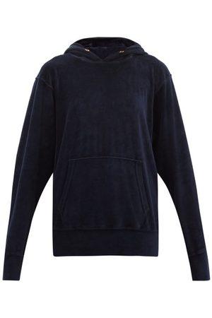 Les Tien Women Sweats - Cotton-blend Velour Hooded Sweatshirt - Womens - Navy