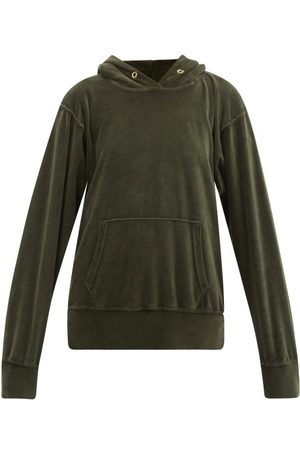 Les Tien - Cotton-blend Velour Hooded Sweatshirt - Womens - Khaki