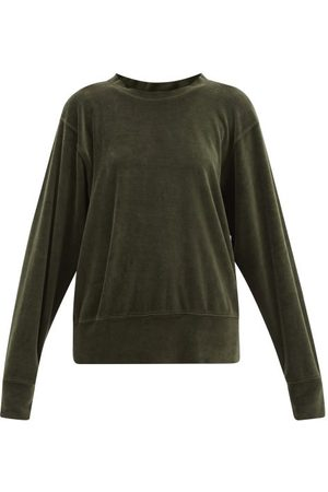 Les Tien Brushed-back Cotton-blend Velour Sweatshirt - Womens - Khaki
