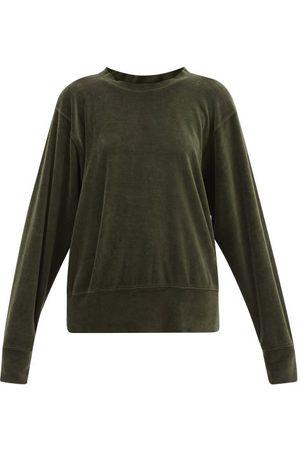 Les Tien Women Sweatshirts - Brushed-back Cotton-blend Velour Sweatshirt - Womens - Khaki