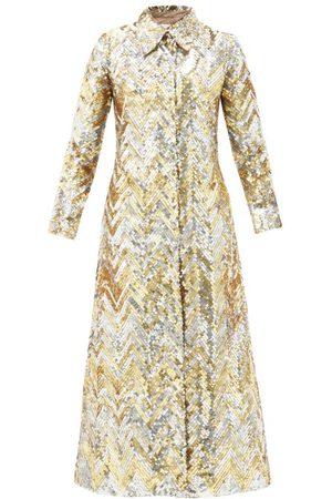 ASHISH Women Coats - Single-breasted Zigzag-sequin Georgette Coat - Womens