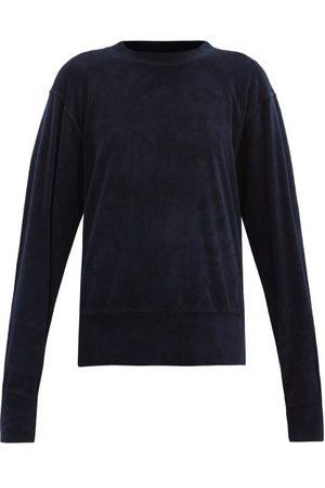 Les Tien Brushed-back Cotton-blend Velour Sweatshirt - Womens - Navy