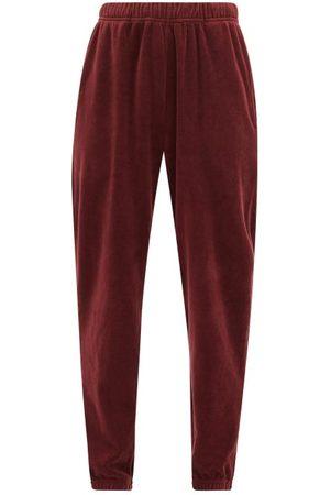Les Tien Women Sweatpants - Cotton-blend Velour Track Pants - Womens - Burgundy