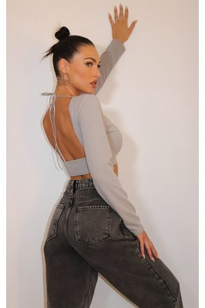 PRETTYLITTLETHING Grey Crepe Backless Long Sleeve Crop Top