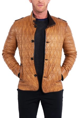 Maceoo Men's Quilted Leather Field Jacket