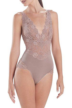 Natori Women's Warm White Parfait Essentials Lace Bodysuit - - Size XL