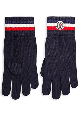 Moncler Men's Logo Virgin Wool Knit Gloves - - Size Large