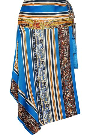 Etro Woman Asymmetric Printed Silk-faille Wrap Skirt Size 48