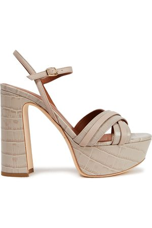 MALONE SOULIERS Woman Mila 125 Smooth And Croc-effect Leather Platform Sandals Stone Size 36