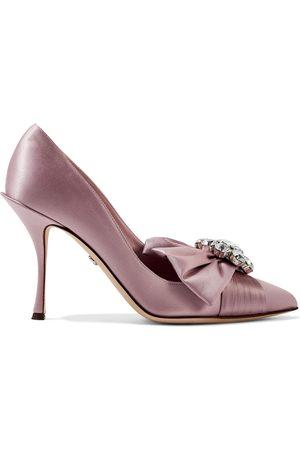 Dolce & Gabbana Woman Crystal-embellished Satin Pumps Lilac Size 37