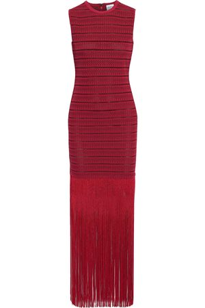 Hervé Léger Hervé Léger Woman Fringed Metallic Crochet-knit Maxi Dress Crimson Size L