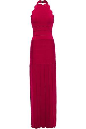 Hervé Léger Hervé Léger Woman Pointelle-trimmed Scalloped Bandage Halterneck Maxi Dress Fuchsia Size L