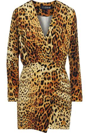 Cushnie Woman Wrap-effect Pleated Leopard-print Silk Crepe De Chine Mini Dress Animal Print Size 2