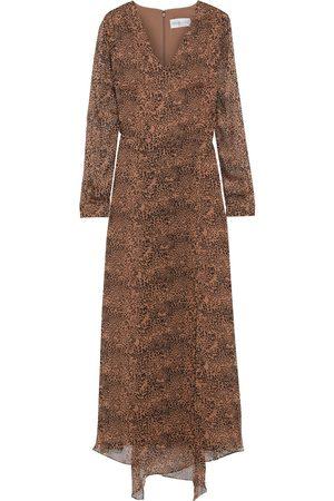 MIKAEL AGHAL Woman Asymmetric Leopard-print Georgette Maxi Dress Animal Print Size 10