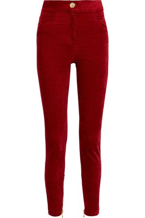 Balmain Women Skinny Pants - Woman Cotton-blend Velvet Skinny Pants Size 34