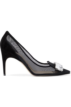 Sergio Rossi Woman Sr1 Crystal-embellished Mesh And Suede Pumps Size 36