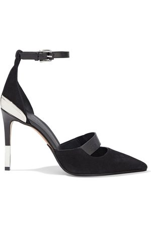 Balmain Women Heeled Pumps - Woman Embossed Leather-trimmed Suede Pumps Size 36