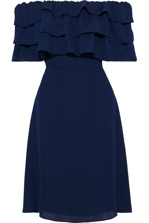 MIKAEL AGHAL Woman Off-the-shoulder Tiered Crepe Dress Navy Size 10
