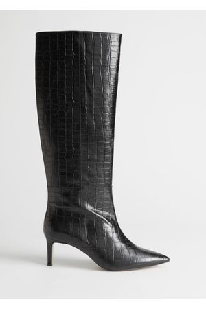& OTHER STORIES Croc Leather Knee High Boots